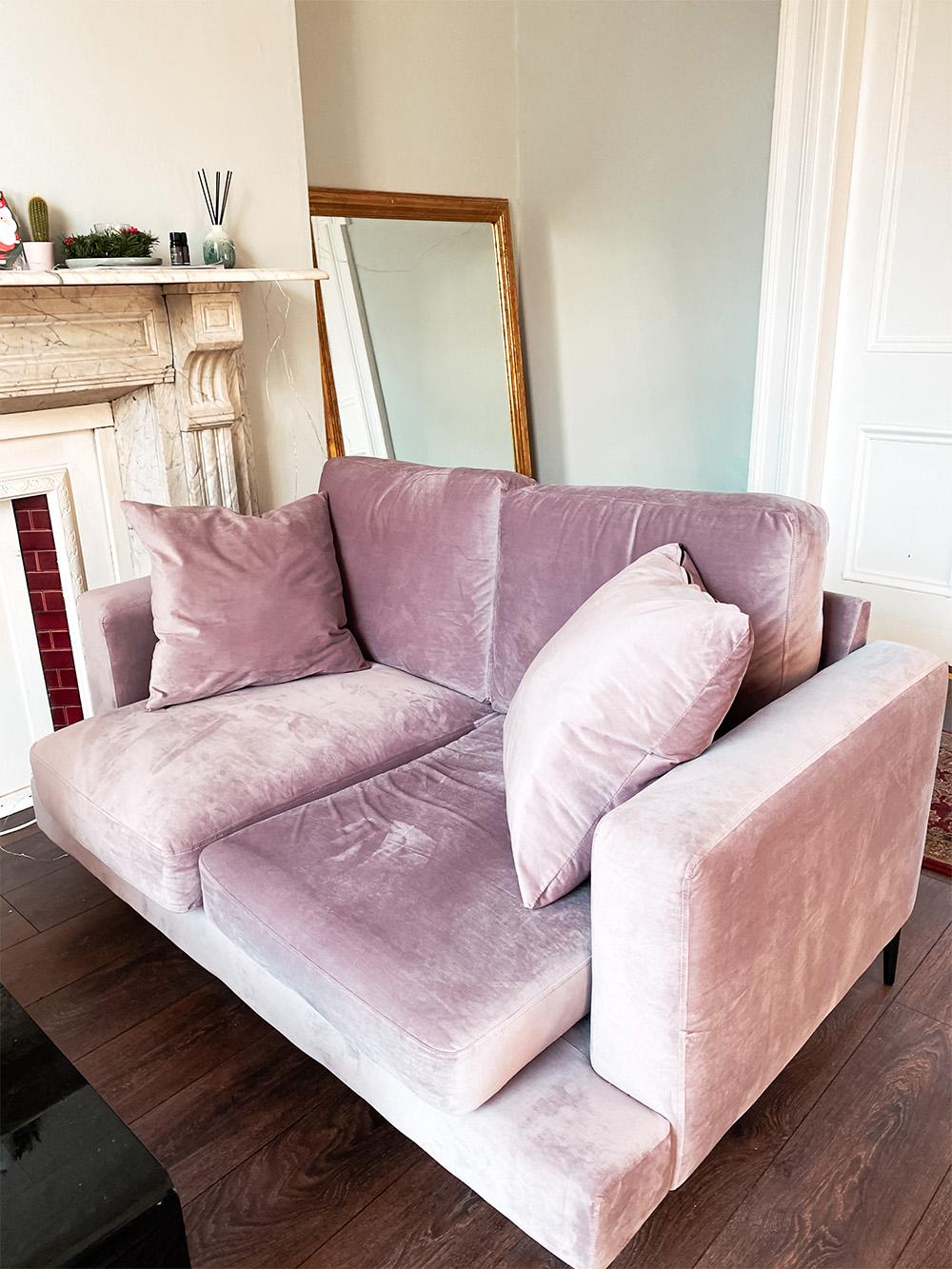 Rosa Zweisitzer-Sofa Covex